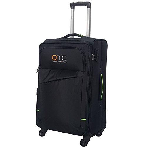 Reisekoffer QTC Stockholm Stoffkoffer Trolley Case Stoff Koffer 4´er Set oder Einzel (Schwarz, M)