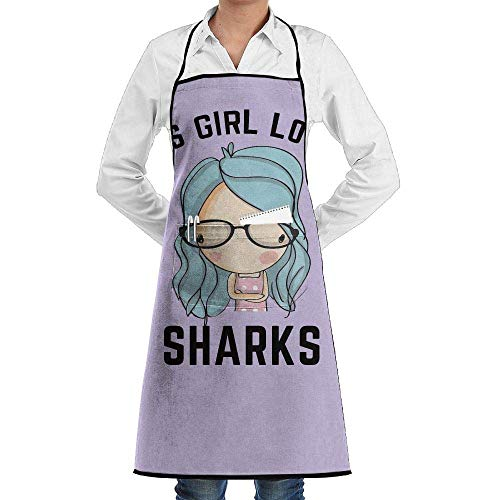 Chef Bib This Girl Loves Sharks Extra Long Adjustable Ties for Cooking,BBQ,Baking ()