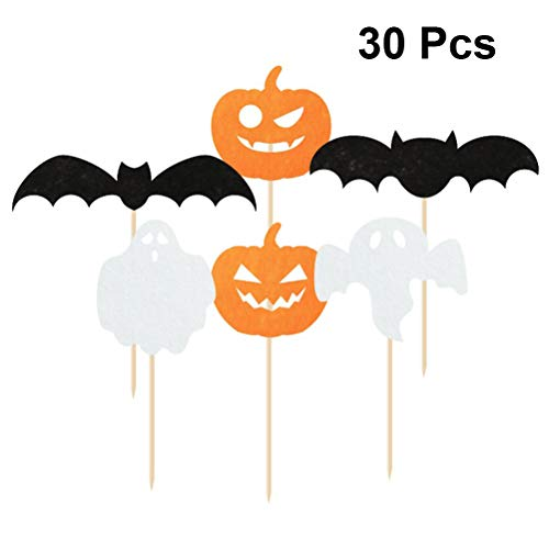 Amosfun Halloween Kürbis Ghost Bat Cake Topper Picks Halloween Party Kuchen Dekorationen Party Supplies 30PCS