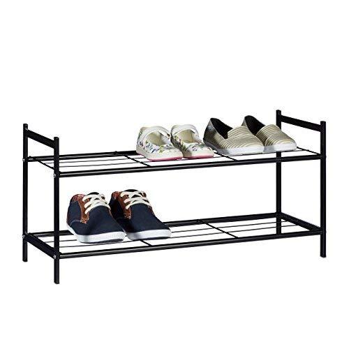 Relaxdays Zapatero Metálico Sandra, 2 Estantes, Organizador Zapatos, 6 Pares, Acero, 33,5 x 69,5 x...