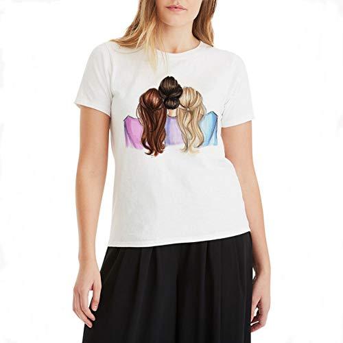 WDFSER Casual Beste Freund T Shirt Harajuku Graphic Tees Frauen Casual Baumwolle Plus Größe T-Shirt Frauen