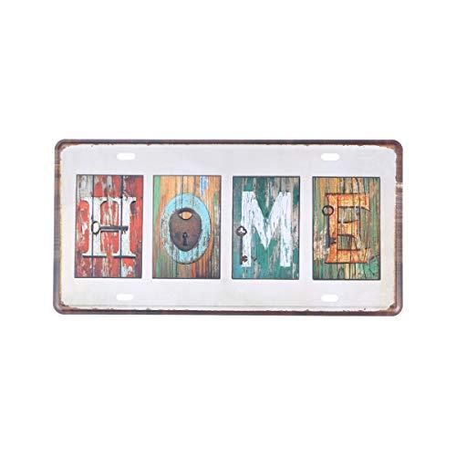Vintage Eisen Zeichen Eisen Malerei Vintage Plakette Poster mit Worten Wand Kunst Dekor für Bar nach Hause (Holzmaserung, nach Hause) (Worten Hause Dekor)