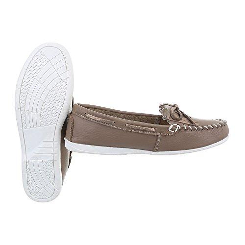 Ital-Design Chaussures Femme Mocassins Plat Mocassins bronzage 8119-1