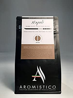 AROMISTICO | Rich Strong Dark Roast | Premium Italian Roasted Whole COFFEE BEANS | NAPOLI BLEND | For Espresso, Moka, Filter, Cafetiere, Pour-Over Drip, Aeropress | SMOKY, MALTY & DARK CHOCOLATE-Like by Arca S.r.l.