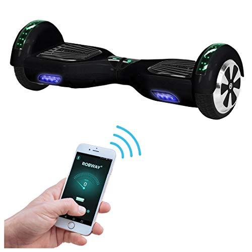 Robway W1 Hoverboard - Das Original - Samsung Marken Akku - Self Balance - 22 Farben - Bluetooth - 2 x 350 Watt Motoren – App - Led (Schwarz)