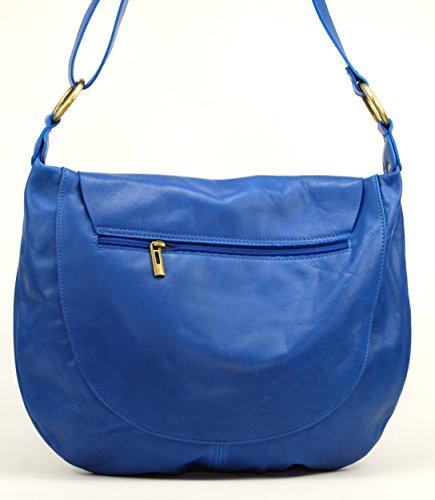 OH MY BAG Sac à Main en cuir souple femme porté bandoulière Modèle Perla (grand) Nouvelle collection BLEU ROI