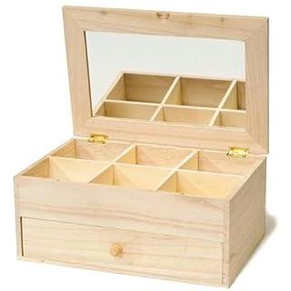 Artemio 6-Case Wooden Jewel Box with Mirror and Drawer, Beige