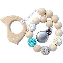 Topker Baby Natural chupete de madera Clips Holder Chain Hecho a mano de crochet Bead con mordedor de madera