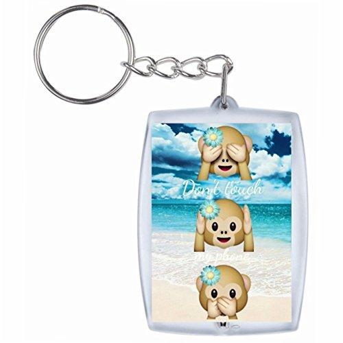 """Preisvergleich Produktbild Schlüsselanhänger """"Dont Touch my Phone Drei Affen mit Urlaubs Summer"""" Rucksackanhänger, Taschenanhänger, Keyring, Emoji, Smiley, Exklusiv"""