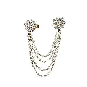JewelMaze White Pearl Austrian Stone Gold Plated Tassel Chain Double Finger Ring for Women-FAJ0152