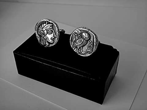 Athena and OwlL Coin Cuff Links, Greek Gods & Goddesses