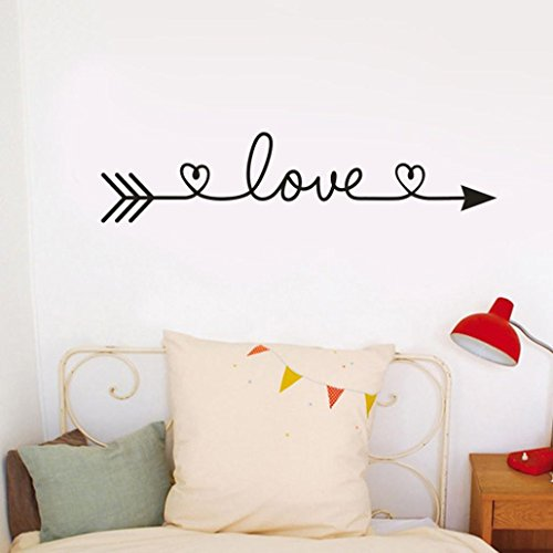 Price comparison product image SMILEQ Funny Quotes Wall Stickers Love Arrow Removable Decal Art Vinyl Mural Home Room Decor (Black)