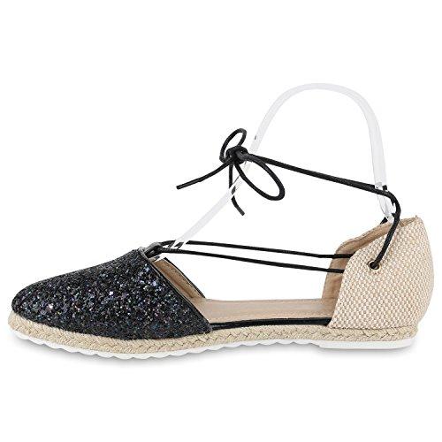 Damen Sandalen Espadrilles Blumen Pailletten Bast Sommer Schuhe Schwarz Glitzer