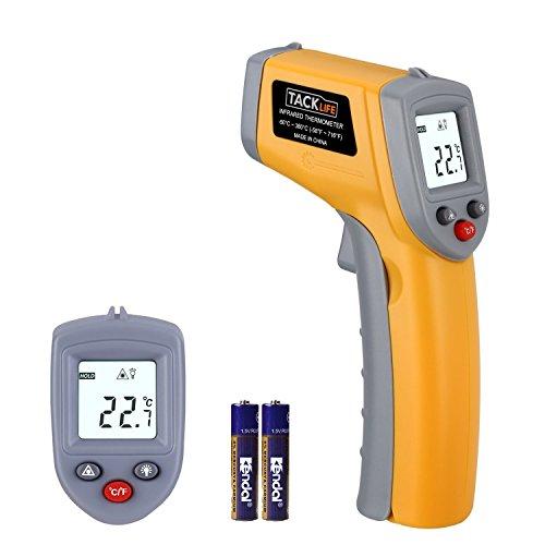 Infrarot Thermometer -50 ℃ bis +380 ℃, Tacklife IT-T02 Pyrometer  Temperaturmessgerät, mit Laser, Berührungslos, Digital LCD Hintergrundbeleuchtung, inkl. 2 Batterien (Gelb&Grau)