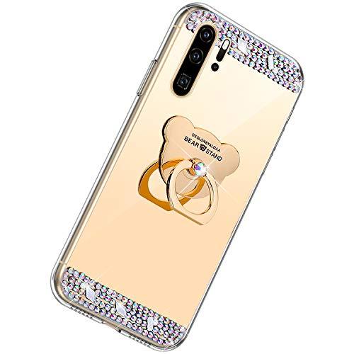 Herbests Kompatibel mit Huawei P30 Pro Glänzend Diamant Kristall Strass Glitzer Spiegel TPU Handyhülle Handytasche Silikon Schutzhülle TPU Bumper Case mit Handy Fingerhalterung,Gold