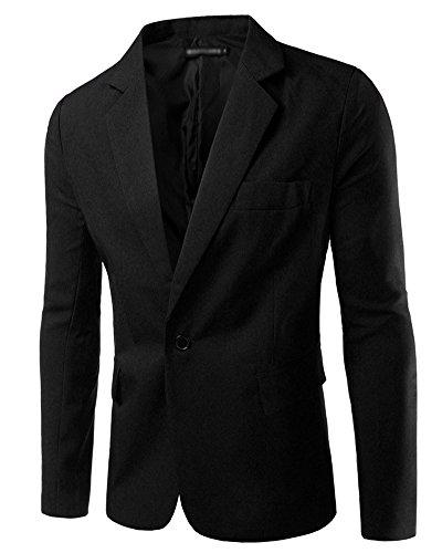Hombre Chaqueta De Traje para Manga Larga Chaqueta Blazer Slim Fit Casual Abrigos Negro S