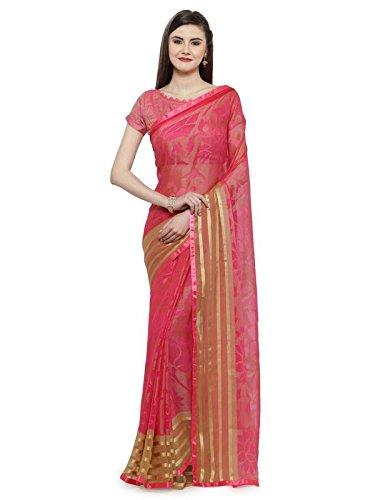 Shaily Retails Women'sPink Brasso Printed Sarees (SPRKLE22101SSSR1T_Pink)