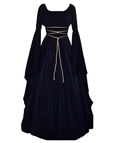 GladiolusA Vestito Medievale da Donna Abito Lungo retrò Costume di Halloween Navy M