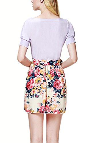 Frauen Blusenkleider Kleid Chiffonkleid Freizeitkleid Belt Rundkragen Kurzarm Blumendrucken Schlank Strandkleid Dünn Violett