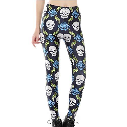 Hibote Mujer Legada Aptitud Cráneo Delgado Polainas Pantalones Impresión Digital Pantalones Pantalones Elásticos