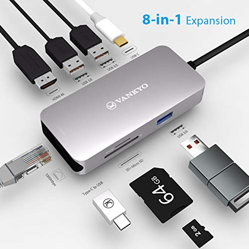 vankyo USB C Hub 8 in 1 Typ C Adapter mit 4K HDMI, RJ45 Ethernet, SD/Micro SD Kartenleser, 3 USB 3.0 und 1 USB C für iPad Pro 2018/MacBook Pro/MacBook Air 2018/Notebooks Tablets USB C