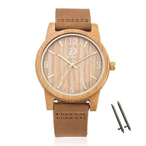 40mm Holz Armbanduhr für Herren und Damen, echtes Leder-Bügel Band Business Casual Armbanduhren, Japanisches Miyota Quarzwerk Bewegung Vintage Natürliche Holz Uhren (Bambus) - Leder Bügel Riemen