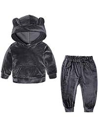 528c39971d40 puseky 2pcs lot Baby Boy Girl Clothes Bear Ear Hooded Sweatshirt Pants  Tracksuit(Color