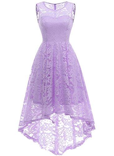 MUADRESS MUA6006 Elegant Kleid aus Spitzen Damen Ärmellos Cocktailkleider Ballkleid Lavender L