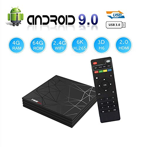T95 MAX Android 9.0 TV Box, Smart Box Vídeo Reproductor Multimedia 4GB RAM 64GB ROM H6 Quad-Core Cortex-A53...