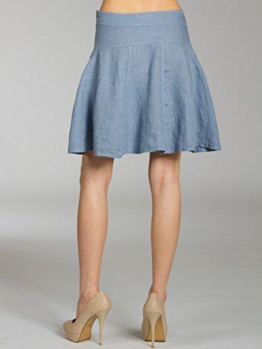 CASPAR RO013 Donna Gonna al Ginocchio di Lino Blu jeans