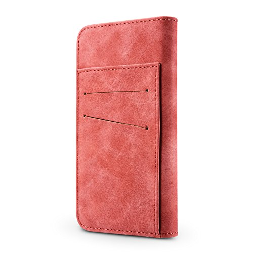 Hülle und Brieftasche,VENTER®removable protective sleeve, 2 positioning options, RFID protection, high-quality vegan leather, gift wrapping für Apple iPhone 6/6s Pink