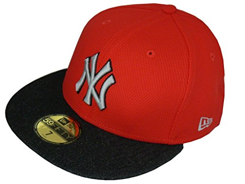 New Era Baseball Cap 59FIFTY DIAMOND DENIM NEYYAN red black graphite Gr. 7 1/8 (Diamond Black Skate)