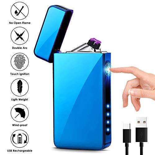 KIMILAR Briquet Rechargeable Électrique Briquet Electrique Double-Arc USB Coupe-Vent Détecteur Tactile Imperméable sans Flamme pour Les Bougies, Cigarettes, Cuisine Cheminée, Feux d'artific