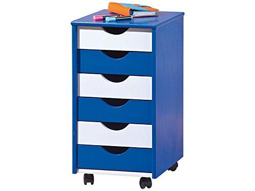 Inter Link Rollcontainer Bürocontainer Holzkommode Schubladenschrank Rollwagen Massivholz Blau und Weiss lackiert BxHxT:36 x 65 x 40 cm -