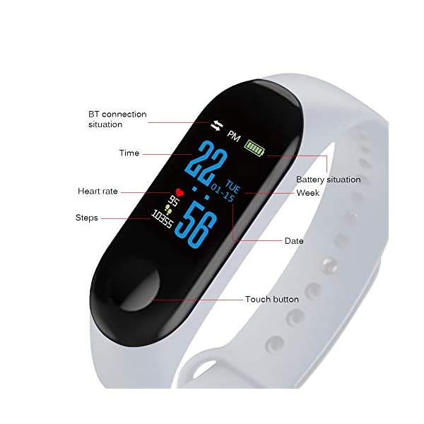 Konesky Fitness Tracker Monitor de Ritmo cardíaco Pulsera de presión Arterial Actividad Reloj Podómetro Contador de calorías Pulsera para Android iOS Smartphone 7