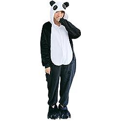 OCHENTA Animal Carnaval Disfraz Cosplay Pijamas Adultos Unisex Ropa De Noche Panda M(Talla 156-164cm)
