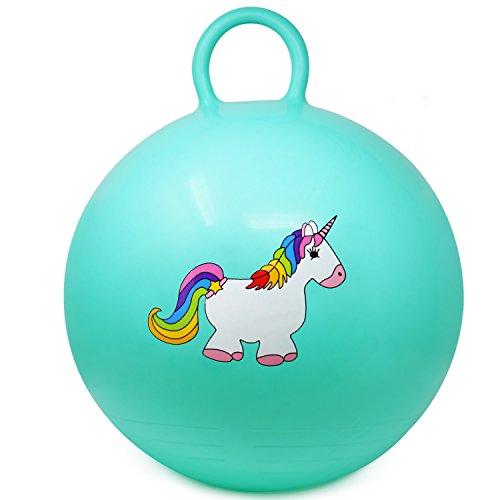 com-four® Pelota de Rebote con Motivo de Unicornio, Pelota de Salto para niños en Turquesa, Ø 37 cm (01 Pieza - Turquesa)