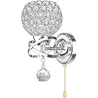 ONEVER Lámpara de pared de cristal de estilo moderno con interruptor de cable de tirón para la sala Cocina de sala de cama y porche, 7W E14 Led bombilla de vela incluida como regalo, AC 85-250V DIY decoración casera, plata