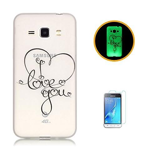 CaseHome Samsung Galaxy J120/J1 (2016) Luminous Hülle (Mit Frie Displayschutzfolie) Leuchtende Silikone Rückhülle Für iPhone (Tatuaggio Di Gomma)