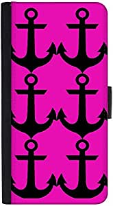 Snoogg Pink Anchor Graphic Snap On Hard Back Leather + Pc Flip Cover Htc Desi...