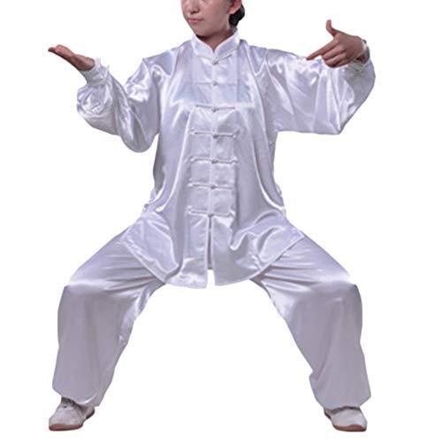 Tai Chi Uniform Anzug Traditionelle Nachahmung Seide Kampfkunst Taiji Kung Fu Wing Chun Shaolin Training Klassische Kleidung Für Männer Frauen Elfenbeinweiß XL
