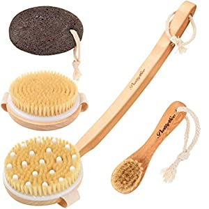 PRETTY SEE Body Brush Kit Boar Bristles Shower Back Scrubber for Dry Brushing Exfoliating Bath Massager with Detachable Long Wooden Handle + Facial Brush + Pumice Stone for Removing Dead Skin and Reducing