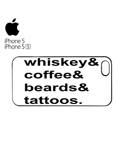 Whiskey Coffee Beards Tattoos Mobile Phone Case Back Cover Coque Housse Etui Noir Blanc pour for iPhone 6 Black Blanc