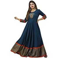 AZQU Women's Embroidered Printed Rayon Anarkali Flared Kurta Gown for Women | Wedding Dress for Girls Gown