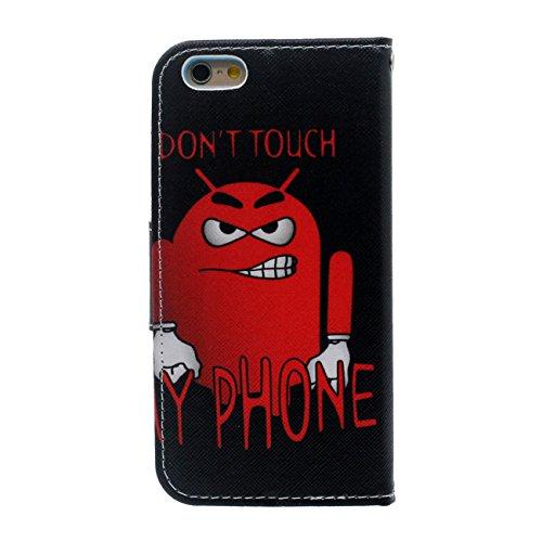 iPhone 6S Portefeuille Bourse Rabat Coque Case de Protection, Original Créatif Peinture Serie Diverses couleurs Souple PU Cuir Carte Étui de Protection pour Apple iPhone 6 4.7 inch Noir