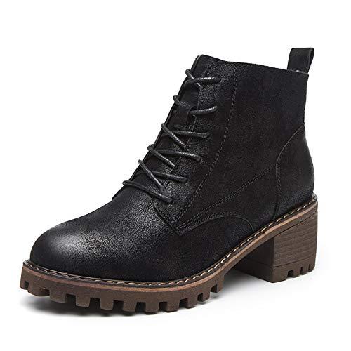 Top Shishang Herbst und Winter dick mit Spitze und nackten Stiefeln Frauen Retro-Absatz Martin Stiefel Chelsea-Stiefel,schwarz,36