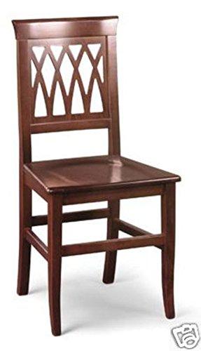 Sedia legno massello noce treccia sedile legno