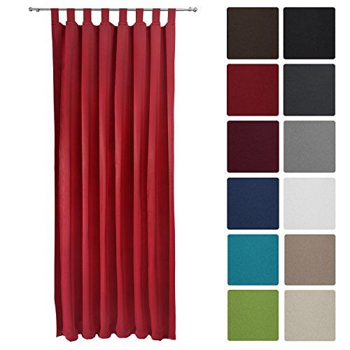 Preisvergleich Produktbild Beautissu® Blackout-Vorhang Amelie mit Schlaufen - 140x245 cm Rot - Verdunklungsgardine Schlaufenschal Blickdicht