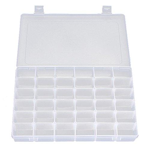 Tinksky Portable 36-griglia gioielli regolabile plastica trasparente duro Organizer Box contenitore custodia con divisori rimovibili - 4.5 Di Alta Portagioie