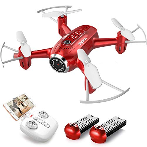 SYMA Mini Drohne HD Kamera Live Übertragung RC Pocket Drohne RTF tragbarer Quadcopter ferngesteuert mit Höhenhaltung Kopflos-Modus App steuern für Anfänger Kinder Spielzeug Rot